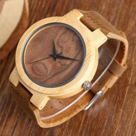 Ρολόι Bamboo με Leather Strap και Oak Wood Καντράν Unisex 2