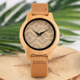 Ρολόι Bamboo & Leather Strap Geometric Unisex Lady Size