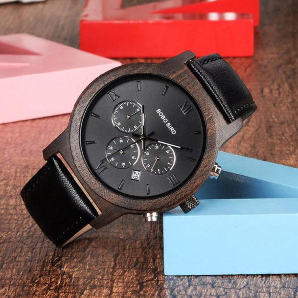 Ρολόι Bamboo Luxury Chronograph με Μαύρο Δερμάτινο Λουράκι