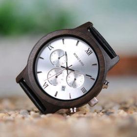 Ρολόι Bamboo Silver Luxury με Μαύρο Δερμάτινο Λουράκι + Ξύλινη Συσκευασία Δώρου