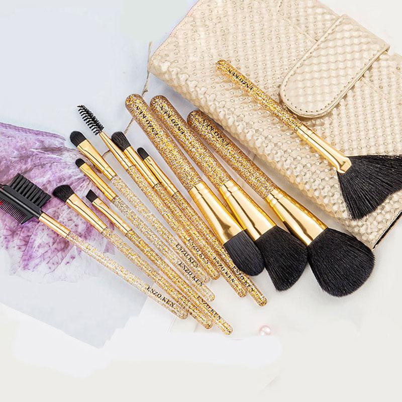 Σετ 12 Πινέλα Μακιγιάζ Glitter Gold με Luxury Θήκη