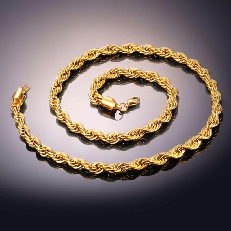 Chain Αλυσίδα Rope U7 6mm - Ανοξείδωτο Ατσάλι / Gold