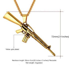 Chain Κολιέ με American M16 U7 - Ανοξείδωτο Ατσάλι / Gold