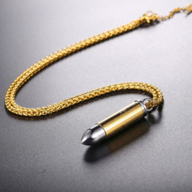 Chain Κολιέ με Bullet U7 - Ανοξείδωτο Ατσάλι / Gold