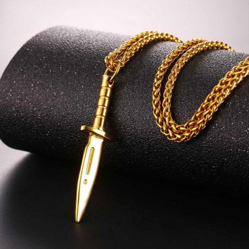 Chain Κολιέ με Army Knife U7 - Ανοξείδωτο Ατσάλι / Gold