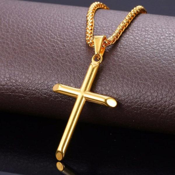 Chain Κολιέ με Pure Σταυρό U7 - Ανοξείδωτο Ατσάλι / Gold