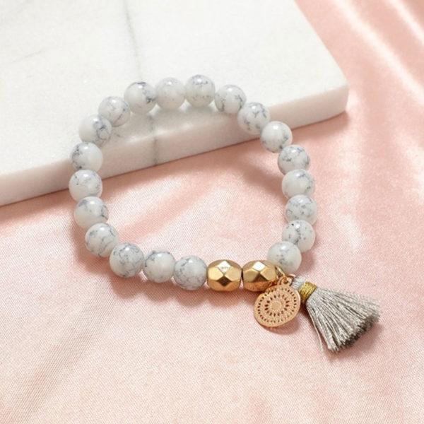 Σετ Βραχιολάκια Multilayer Marble White Love
