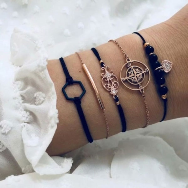 Σετ Βραχιολάκια Multilayer Bohemian Black Star Love
