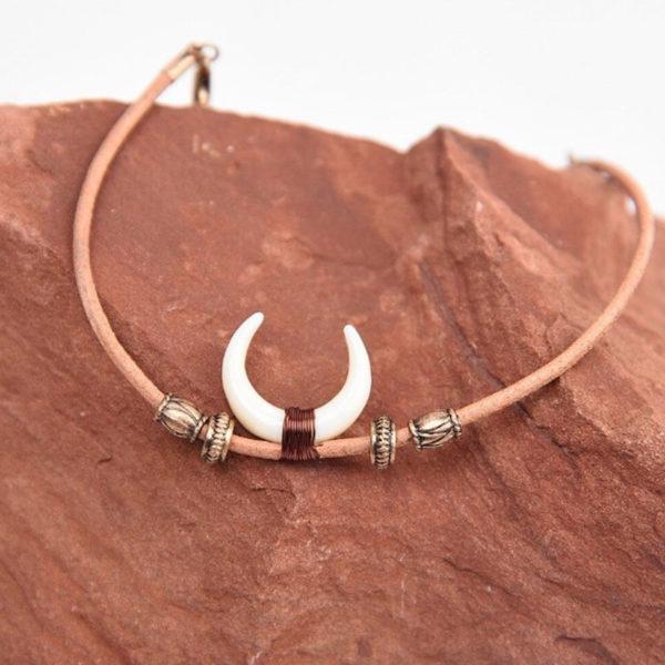Χειροποίητο Βραχιολάκι Leather Ethnic Ox Horn
