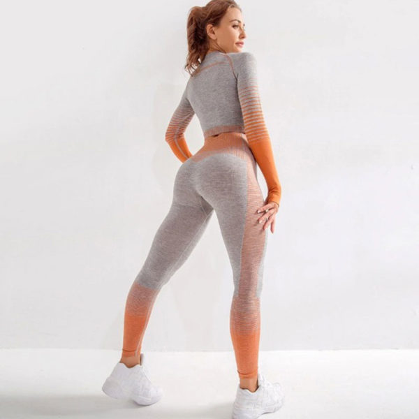 Yoga Set Αθλητικό Κολάν Ψηλόμεσο & Μπουστάκι Μακρυμάνικο Orange