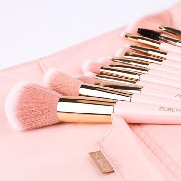 Σετ 12 Πινέλα Μακιγιάζ Pink Love + Δερμάτινη Κασετίνα