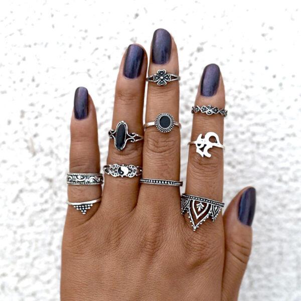 Σετ 10 Δαχτυλίδια Bohemian Silver Ying / Yang