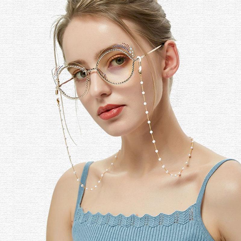 Αλυσίδα Chain Γυαλιών με Λευκές Πέρλες σε Χρυσό χρώμα