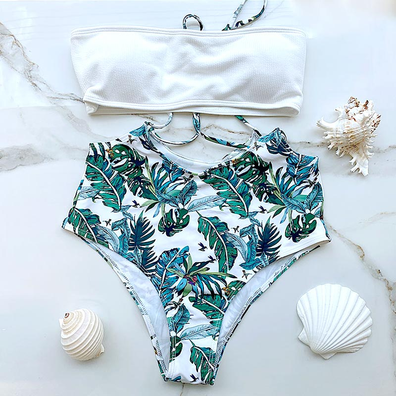 Μαγιό Ψηλόμεσο Strapless Tropical Mystic White