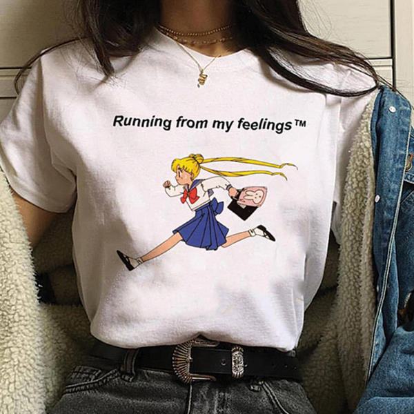 UpStyle T-Shirt Μπλουζάκι Harajuku Running White - Medium
