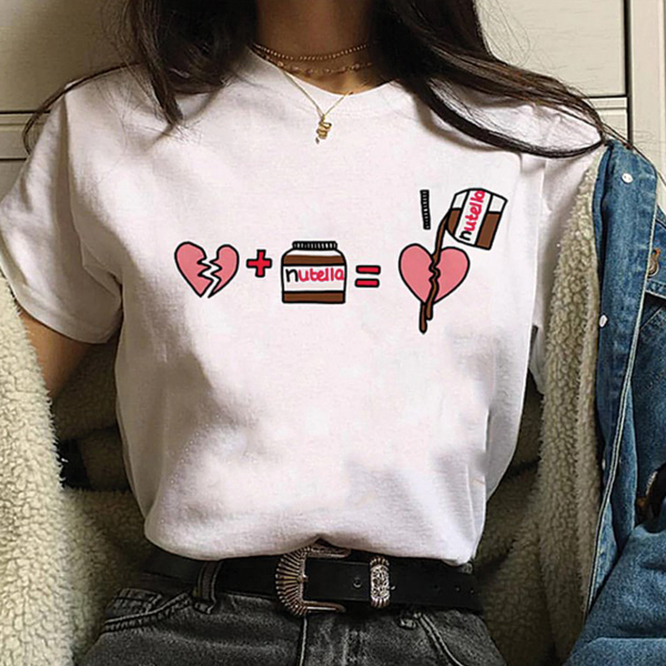 UpStyle T-Shirt Μπλουζάκι Nutella Heart White - Medium
