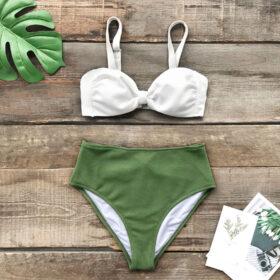 Μαγιό Ψηλόμεσο Green Strapless με Ρυθμιζόμενες Τιράντες - Paradise 2020