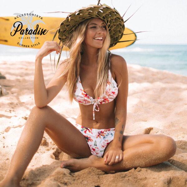 Μαγιό Τριγωνάκι Floral White με Δέσιμο στο Μπούστο - Paradise 2020