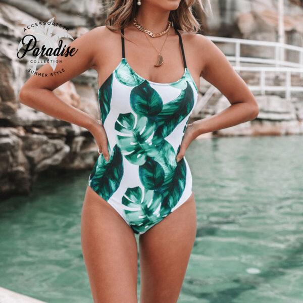 Μαγιό Ολόσωμο Tropical Leaf με Δέσιμο στην Πλάτη - Paradise 2020