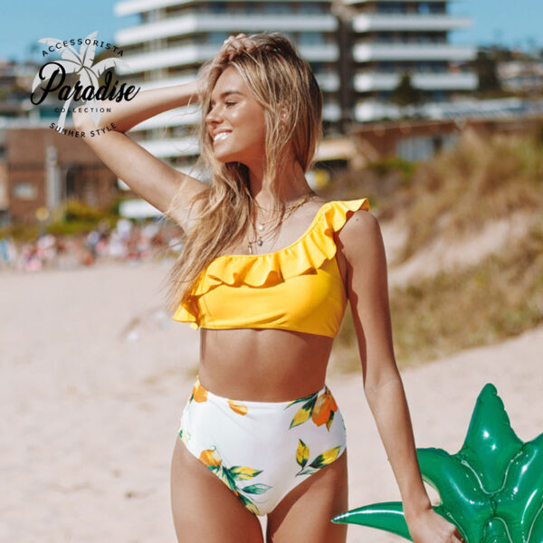 Μαγιό Ψηλόμεσο One Shoulder Yellow Lemon - Paradise 2020