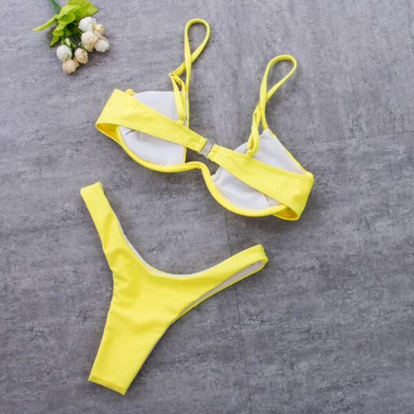 Μαγιό Sexy Yellow με Μπανέλα & Ρυθμιζόμενες Τιράντες