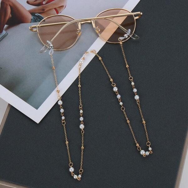 Αλυσίδα Chain Γυαλιών σε Χρυσό χρώμα με Πέρλες κατά μήκος