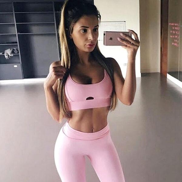 Yoga Set Αθλητικό Κολάν Ψηλόμεσο και Μπουστάκι Pink