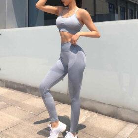 Yoga Set Αθλητικό Κολάν Ψηλόμεσο και Μπουστάκι με Ρυθμιζόμενες Τιράντες Grey