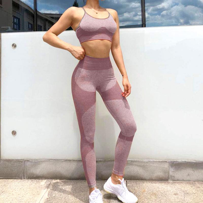 Yoga Set Αθλητικό Κολάν Ψηλόμεσο και Μπουστάκι με Ρυθμιζόμενες Τιράντες Violet