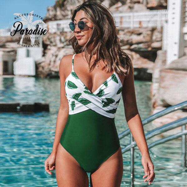 Μαγιό Ολόσωμο Green Leaf με Ρυθμιζόμενες Τιράντες - Paradise 2020