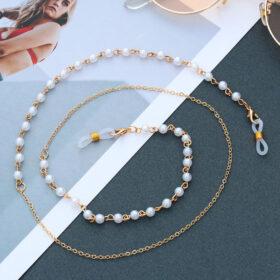 Αλυσίδα Chain Γυαλιών σε Χρυσό χρώμα με Πέρλες Αριστέρα & Δεξιά
