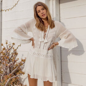 Cover-Up Καφτάνι Bohemian Tassel Λευκό - One Size (09)