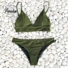 Μαγιό Army Green με Ρυθμιζόμενες Τιράντες - Paradise 2020