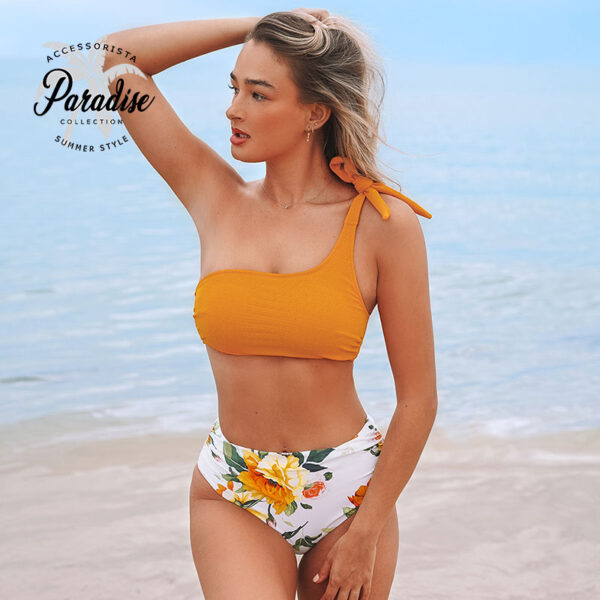 Μαγιό Ψηλόμεσο One Shoulder Floral Yellow - Paradise 2020