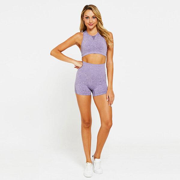 Yoga Set Αθλητικό Σορτσάκι Ψηλόμεσο & Μπουστάκι Purple