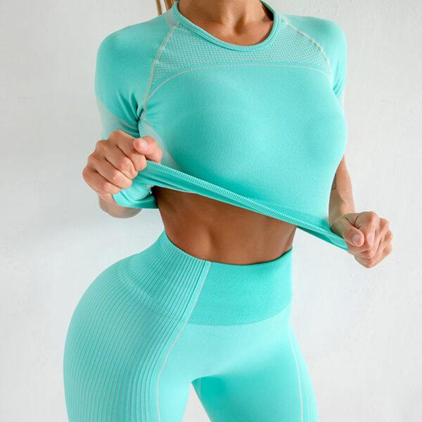 Yoga Set Αθλητικό Σορτσάκι Ψηλόμεσο & Μπουστάκι/Μανίκια Tirquaz