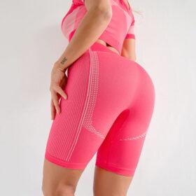 Yoga Set Αθλητικό Σορτσάκι Ψηλόμεσο & Μπουστάκι/Μανίκια Pink