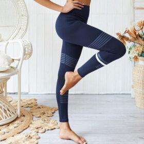 Yoga Set Αθλητικό Κολάν Ψηλόμεσο & Μπουστάκι Sky Blue