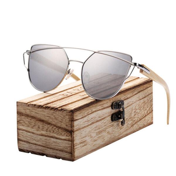 Γυαλιά Ηλίου Bamboo Cat Eye με Ασημί Polarized Φακό (2041)