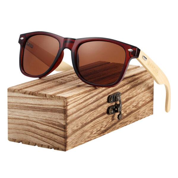 Γυαλιά Ηλίου Bamboo Καφέ Wayfarer Style με Καφέ Φακό Unisex (4175)