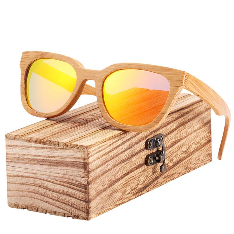 Γυαλιά Ηλίου Bamboo Square με Πορτοκαλι Polarized Φακό (8212)