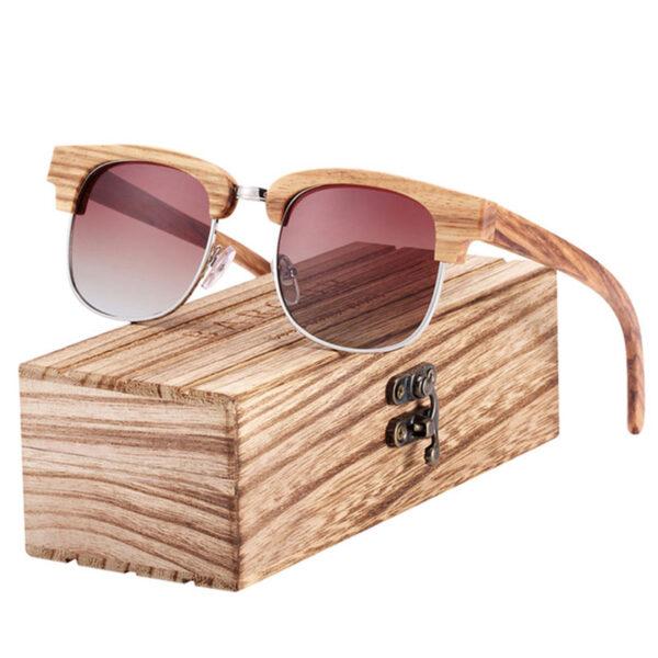 Γυαλιά Ηλίου Bamboo Clubmaster Style με Καφέ Polarized Φακό (8101)Γυαλιά Ηλίου Bamboo Clubmaster Style με Καφέ Polarized Φακό (8101)