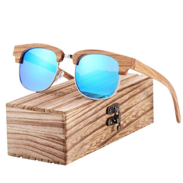 Γυαλιά Ηλίου Bamboo Clubmaster Style με Μπλε Polarized Φακό (8101)
