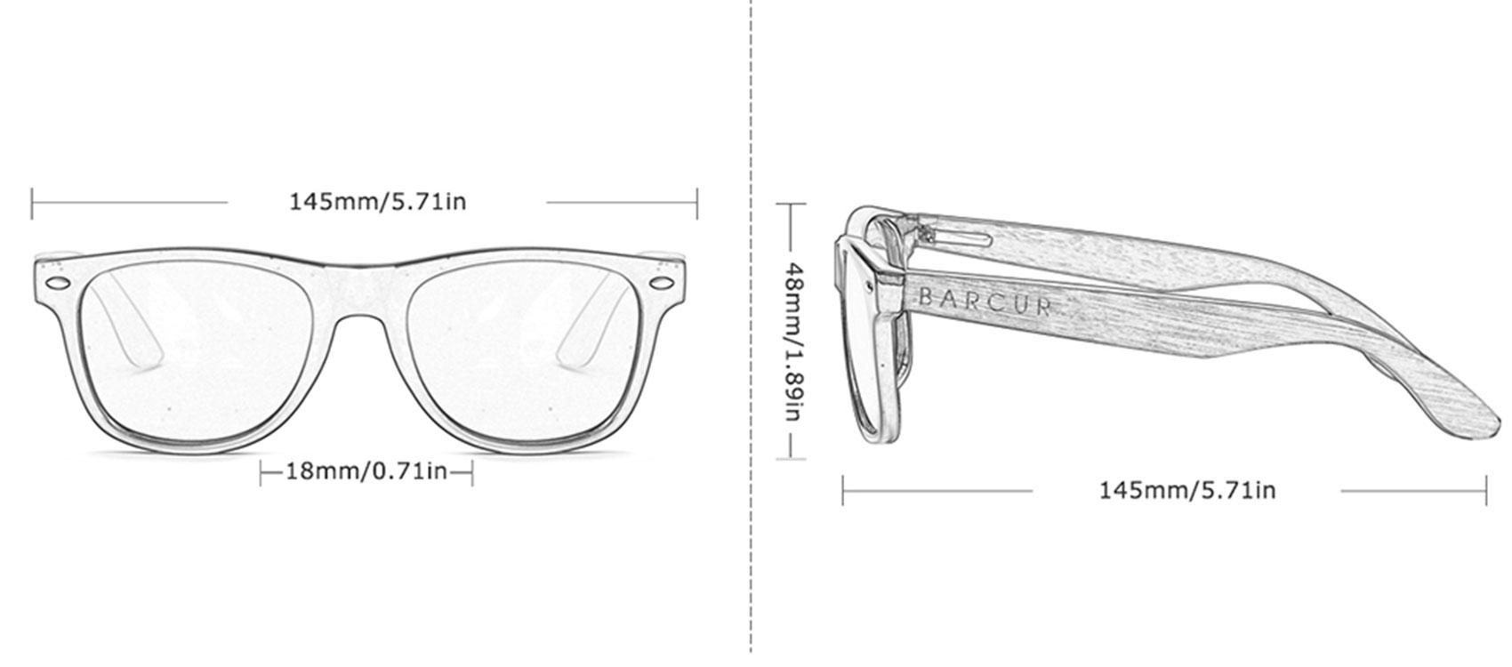 Γυαλιά Ηλίου Wayfarer Style με Black Φακό & Ξύλο Καρυδιάς (8700)