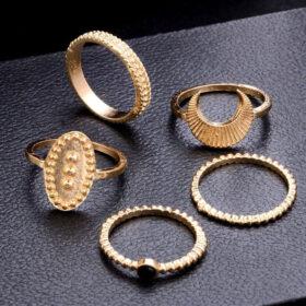 Σετ 5 Δαχτυλίδια Vintage Rome Black Stone