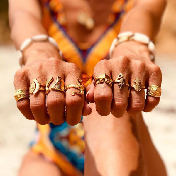 Σετ 9 Δαχτυλίδια Bohemian Gold Free Spirit