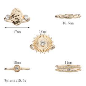 Σετ 5 Δαχτυλίδια Vintage Gold Crystal Sun