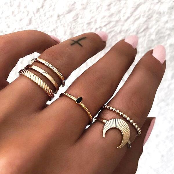 Σετ 6 Δαχτυλίδια Χρυσά Vintage Rome Black Stone
