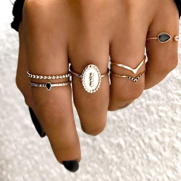 Σετ 6 Δαχτυλίδια Χρυσά Vintage Crown Black Stone