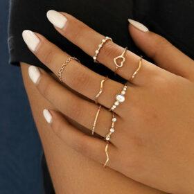Σετ 9 Δαχτυλίδια Bohemian Gold Heart Crystal Stone